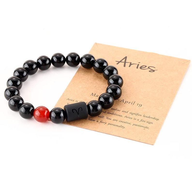 Zodiac Bracelet for Men Women,10mm Natural Black Onyx Stone Star Sign Constellation Horoscope Bracelet Gifts