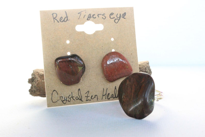 Handmade Jewelry Red Tigers Eye Tumbled Earrings and matching ring The Perfect gift idea for crystal lover in your life One of a kind