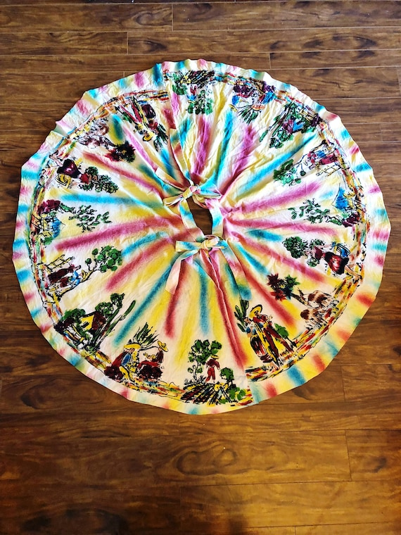 Vintage 50's Mexican hand painted circle skirt XS