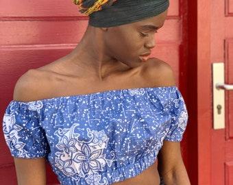 vintage womens eyelash crop top 100/% organic cotton printed in France