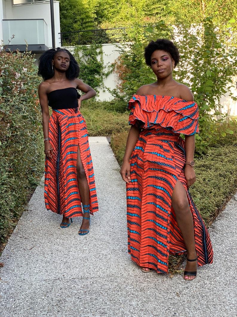 African printed orange leaf maxi skirt