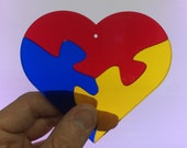 Multicolor Heart Jigsaw Stained Glass Suncatcher Puzzle