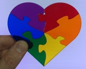 Rainbow Heart Jigsaw Stained Glass Suncatcher Puzzle