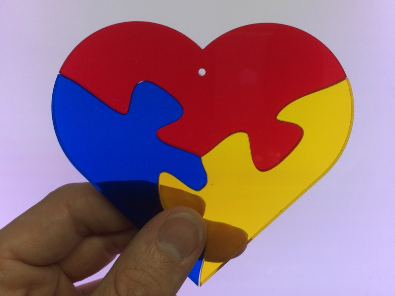 Multicolor Heart Jigsaw Stained Glass Suncatcher Puzzle image 0