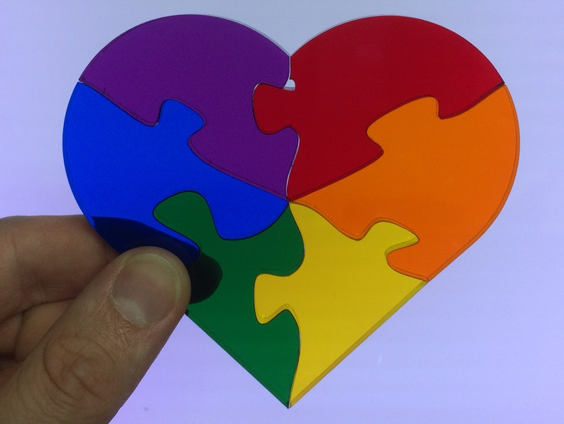 Rainbow Heart Jigsaw Stained Glass Suncatcher Puzzle image 0