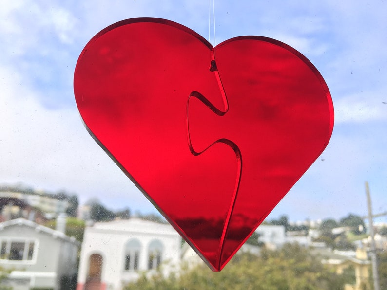 Red Transparent Heart Jigsaw Stained Glass Suncatcher Puzzle image 0