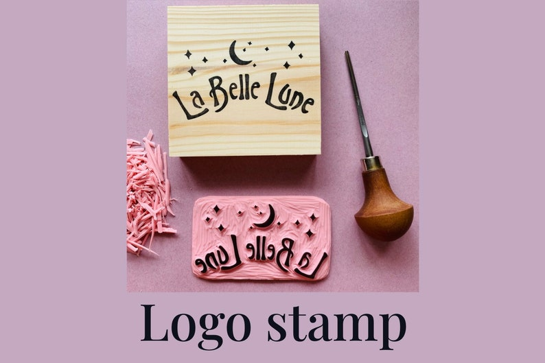 Custom logo small business stamp  rubber wood mounted and image 0
