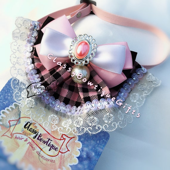 Lace Rhinestones necklace for dog Floral Lace Bell Collar with Illuminated charm center for dog puppy cat kitten