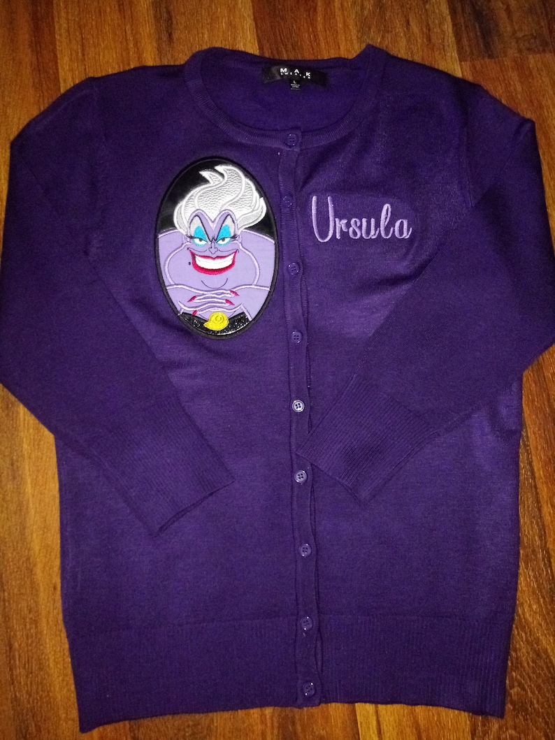 Ursula Cardigan Embroidered Applique Sea Witch Little Mermaid Sweater Disney Inspired