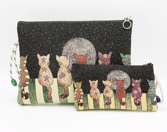 5cf12af909 Cats Printed Woven Clutch, Tapestry Fabric Clutch, Summer Daily Envolep  Pouch, Clutch and Zip Pouch Set