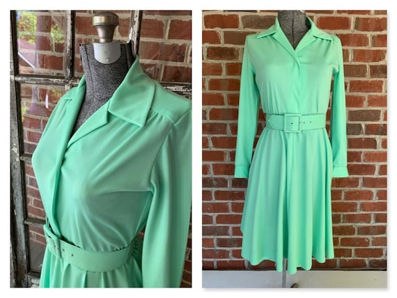 70s Lime Green Shirtdress, 70s Shirtdress, 70s Dre