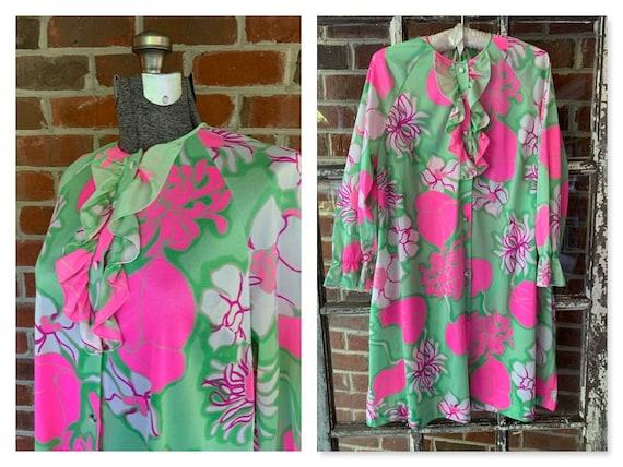 70s Gossard Artemis Floral Housecoat, 70s Floral R