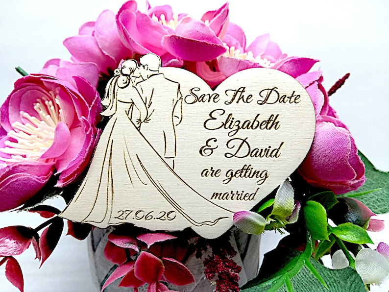 wedding  heart save the date from wood SET OF 10 Save the date wooden magnetsRustic Unique and romantic with newlyweds silhouette  design