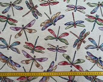 Dragonflys Tapestry Fabric Curtains Upholstery Cushions 140cm wide