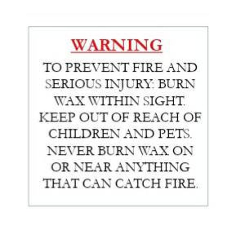 packaging-safety-12 labels-business supplies-wax melt business-stickers clear or white square warning labels Warnings for wax melts
