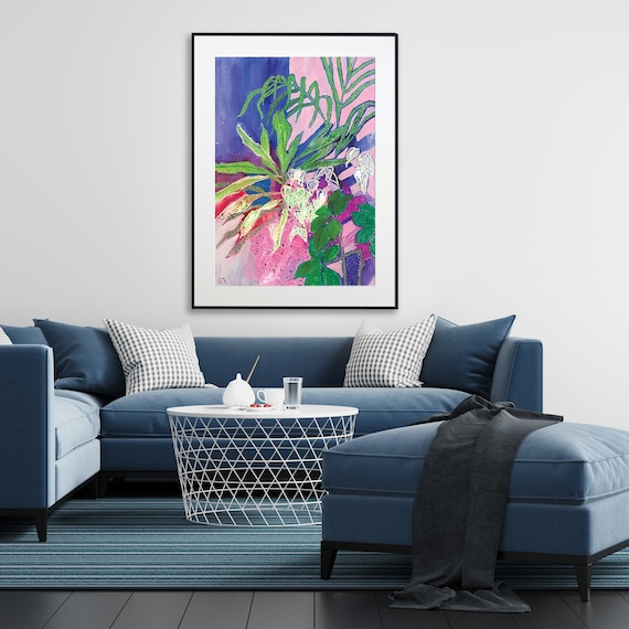 Blue pink tropical art Large canvas print Colorful wall art Abstract painting Living room decor Bedroom decor Kitchen decor Jungle flowers