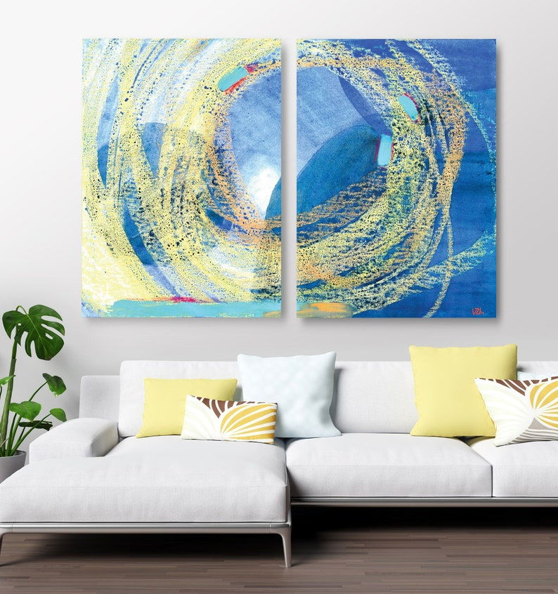 Set of 2 prints Blue oversized wall art Watercolor paintings Large blue print Large Abstract poster Extra large wall art Large printable art