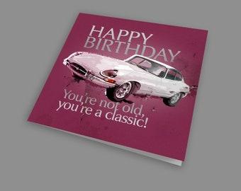 Personalised Vintage Car Jaguar Themed Birthday Card Dad Brother Husband Son