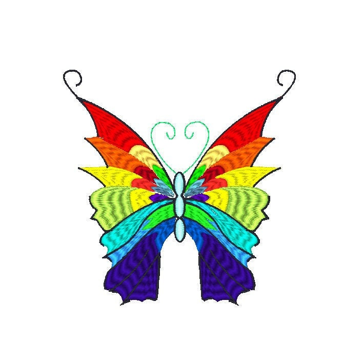 Machine embrodiery Pride flag butterfly clip