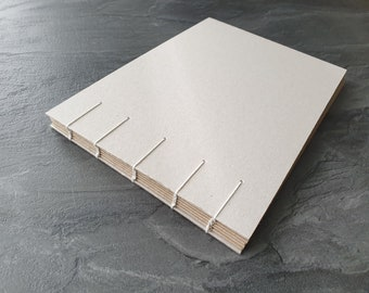 Ecofriendly, handmade sketchbook, 100% recycled brown paper, DIN A5 (148x210mm), 120 pages, landscape format