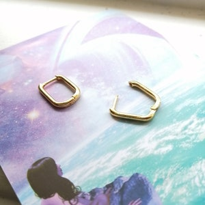 Mini Arch Hoops gold filled rose gold filled sterling silver earrings teeny tiny rectangle second hole threader hoop hammered geometric