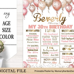30th 40th 50th 60th Golden gift for her Printable Unicorn Adult Birthday cake smash chalkboard chalk board poster banner milestone 444