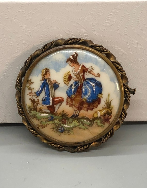 Brass Compact Case German Edwardian Couple with Dog Made in Western Germany Vintage Mirror