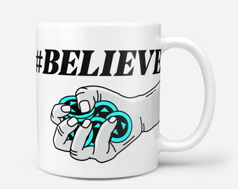 BELIEVE White Crypto Coffee Mug, Typerium, Art, Coin, Charity, Blockchain, Bitcoin, Poker, Chips, Cryptocurrency, Gift, Typography, Coffee