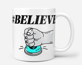 BUY & BELIEVE White Crypto Coffee Mug, Typerium, Art, Coin, Charity, Blockchain, Bitcoin, Ethereum, Cryptocurrency, Gift, Typography, Coffee