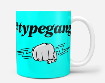 TYPEGANG Blue Crypto Coffee Mug, Typerium, Art, Coin, Charity, Blockchain, Bitcoin, Ethereum, Cryptocurrency, Gift, Typography, Coffee, Tea