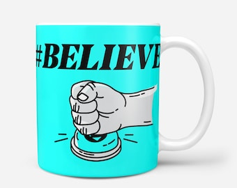 BUY & BELIEVE Blue Crypto Coffee Mug, Typerium, Art, Coin, Charity, Blockchain, Bitcoin, Ethereum, Cryptocurrency, Gift, Typography, Coffee
