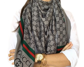 e19fed636 GUCCI inspired Shawl, (*double layer*) Unisex Scarf, Stylish~Luxury, GUCCI  inspired Scarf!! GRAY