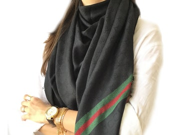 90582707f GUCCI inspired Shawl, Unisex Scarf, (*double layer*) Stylish~Luxury BLACK GUCCI  inspired Scarf!!