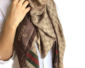 e2e3fd412 GUCCI inspired Shawl, Unisex Scarf, (*double layer*) Stylish~Luxury, GUCCI  inspired Scarf!!
