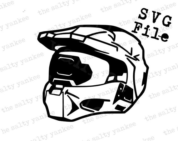 Halo Master Chief Helmet Outline Svg Vector File For Cricut Vinyl Cut And More
