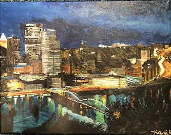 "Original Acrylic Painting–""The 'Burgh"" on Canvas"