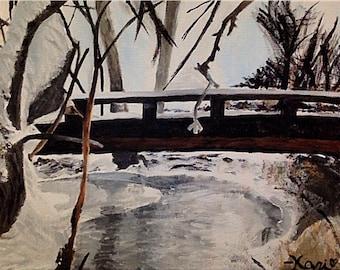 "Original Acrylic Painting–""Parker's Bridge"" on Canvas"