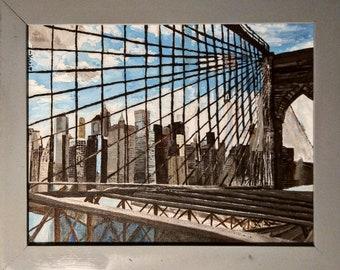 "Original Framed Acrylic Painting–""I <3 Brooklyn"" on Canvas"