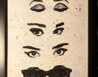 """Framed Acrylic Painting on Canvas Paper- """"Audrey Eyes"""""""