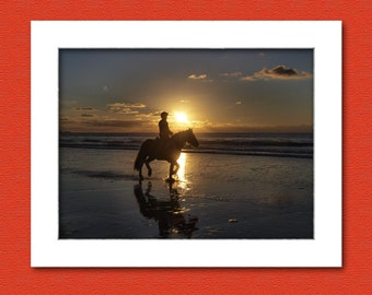 Photo print, picture of a horse and rider on the beach at sunset, Cornwall, UK. 12 x 8 inch print to fit standard size frame.