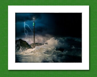 Picture of stormy sea over Barrel Rock, Bude, Cornwall, UK.