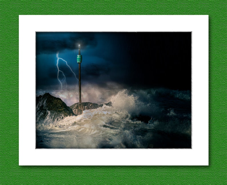 Picture of stormy sea over Barrel Rock Bude Cornwall UK. image 0