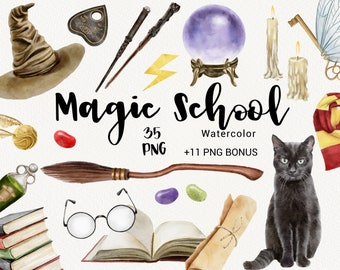 Watercolor Magic School Clipart   Witch and Wizard Supplies, Halloween Clipart, Wands and Broomstick, Potions, Keys Clipart, PNG DIY