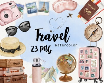 Watercolor Travel clipart, Fashion girl clip art, Summer Holiday, Tourism, Adventure, Bug, Airplane, Journey, Planner, Instant Download PNG