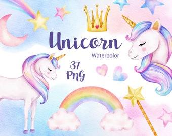 Unicorn Watercolor clipart, Rainbow clip art , Woodland Animals, Magic unicorn graphics, Kids Clipart, pastel color, party supplies, Stars