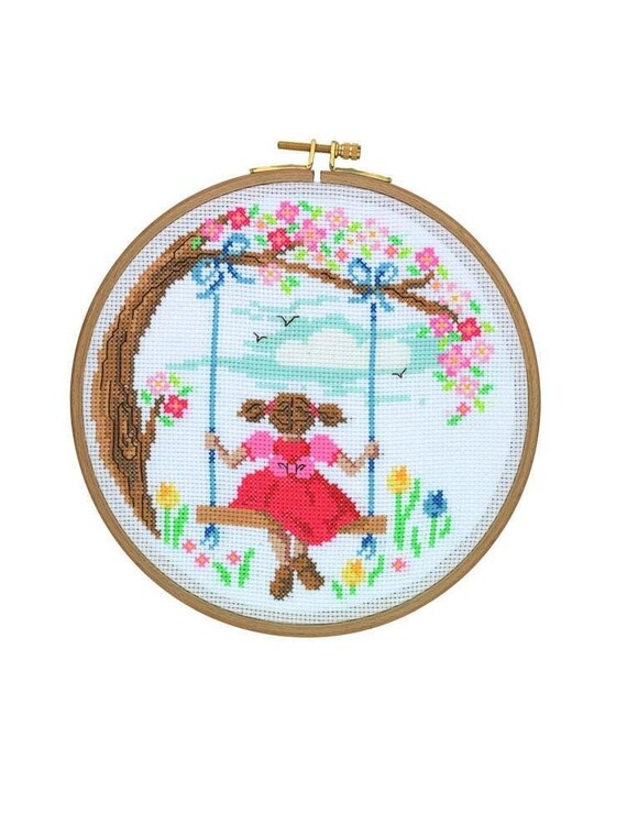 Vintage Tea Cups 18.5 cm Tuva Cross Stitch Kit with Wooden Hoop 7/'/'