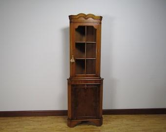 Vintage English Georgian Yew Wood Small Corner China Cabinet Cupboard