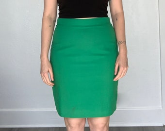 b7bb1e89f Vivid green 80's pencil skirt