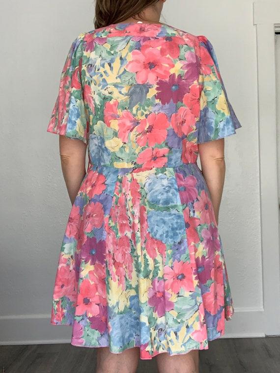 1980's flirty floral springtime dress - image 3