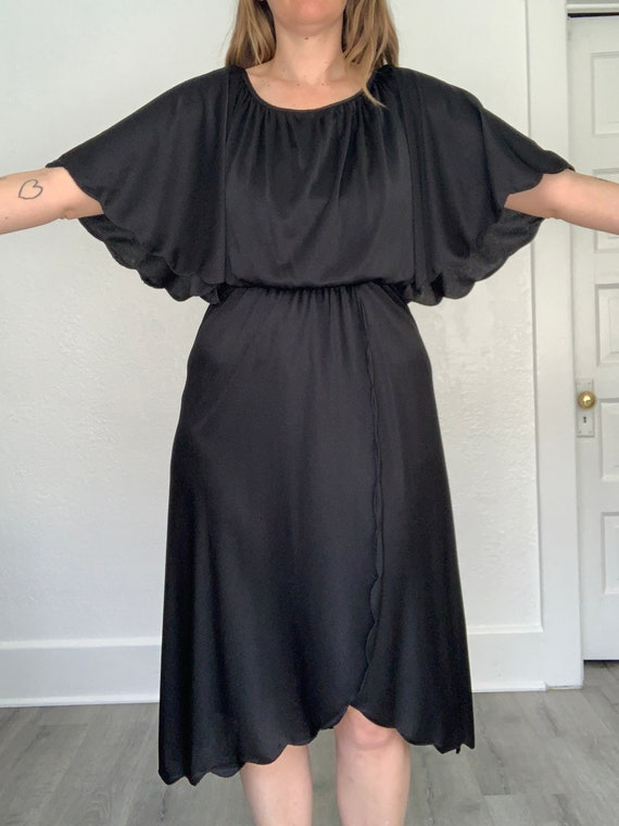 1980's black butterfly sleeve dress